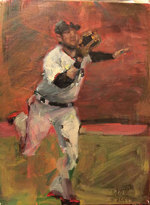 Baseball Art Painting - White Shark Snatch by Darren Kerr