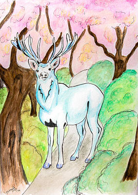 Cherry Trees Drawing - White Stag by Pati Photography