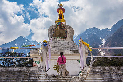 White Stupa At Yumthang Valley In Lachung North Sikkim India Print by Nattee Chalermtiragool