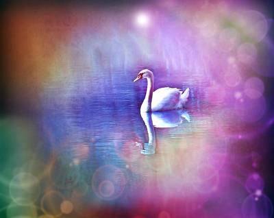 Nature Digital Art - White Swan In Colorful Fog by Lilia D