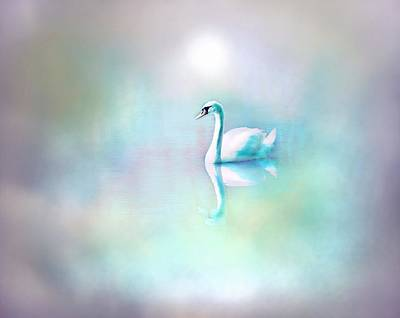 Iridescent Mixed Media - White Swan In The Fog by Lilia D