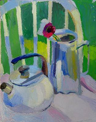 Pitcher With Flowers Painting - White Teapot And Pitcher by Martin Deem
