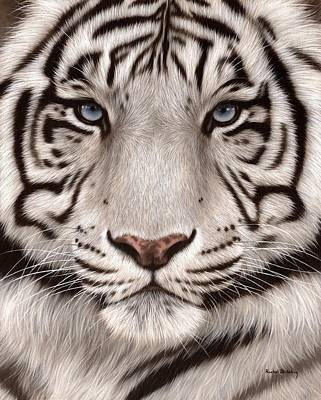 White Tiger Painting Original by Rachel Stribbling