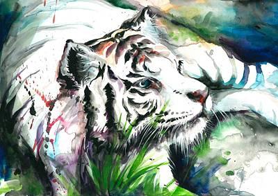 Het Painting - White Tiger Resting by Tiberiu Soos