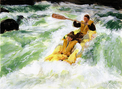 White Water Rafting Painting - White Water by Michael Beckett