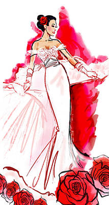 Wedding Dress Drawing - White Wedding Red Roses by Renee Reeser Zelnick