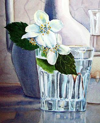 Printmaking Painting - White White Jasmine  by Irina Sztukowski