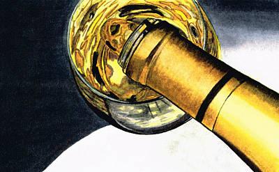 Wine Bottle Painting - White Wine Art - Lap Of Luxury - By Sharon Cummings by Sharon Cummings