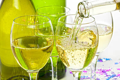 Pouring Wine Photograph - White Wine Pouring Into Glasses by Colin and Linda McKie