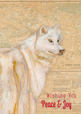 White Winter Wolf Print by Andrea LaHue