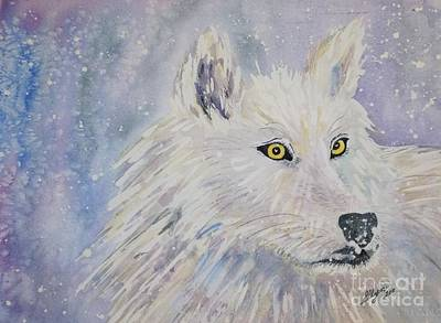 Wolf Face Painting - White Wolf Of The North Winds by Ellen Levinson