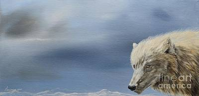 North American Wildlife Painting - White Wolf2 by Laurianna Taylor