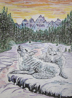 White Wolves Print by Kathy Marrs Chandler