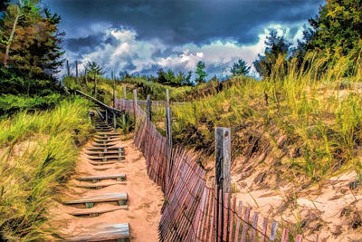 Sand Dunes Painting - Whitefish Dunes State Park Stairs by Christopher Arndt