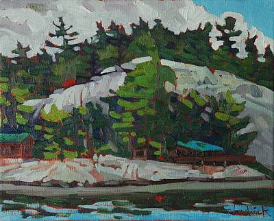 Canoeist Painting - Whitefish River Cottages by Phil Chadwick