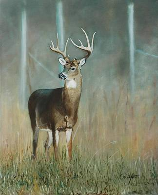 Queue Painting - Whitetail Deer by Jean Yves Crispo