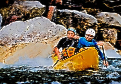 Canoe Photograph - Whitewater Canoe Paddlers by Les Palenik