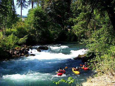 White Salmon River Photograph - Whitewater Kayaks by Charles Robinson