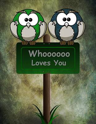 Wife Digital Art - Whoooo Loves You  by David Dehner