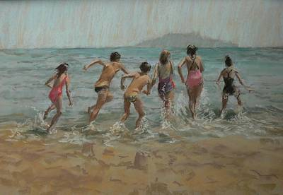 Boys Swimming Painting - Whos First by Pat Maclaurin