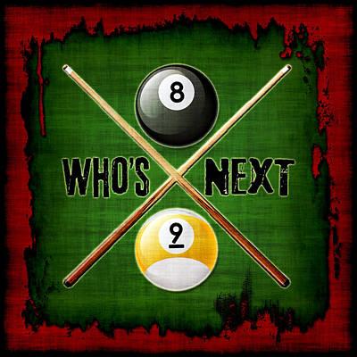 Who's Next Billiards Print by David G Paul