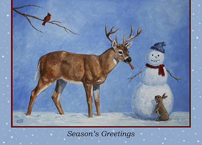 Whitetail Deer Painting - Whose Carrot Seasons Greeting by Crista Forest