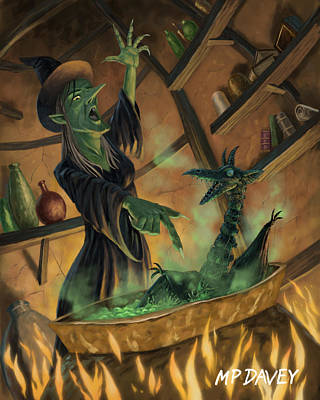 Wicked Witch Casting Spell Print by Martin Davey