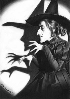 Wizard Drawing - Wicked Witch by Marc D Lewis