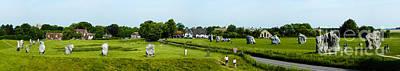 Wide Panorama Of Stone Circle Avebury Circle  Wiltshire Uk  Print by Peter Noyce