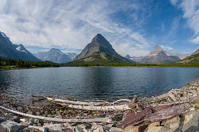 Wide View Of Swiftcurrent Lake Print by Greg Nyquist