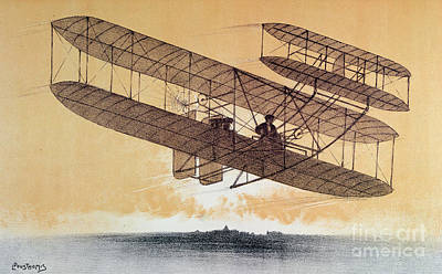 Self Drawing - Wilbur Wright In His Flyer by Leon Pousthomis