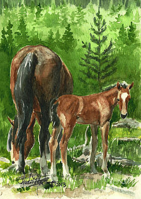 Wild Alberta Mare And Foal Print by Linda L Martin