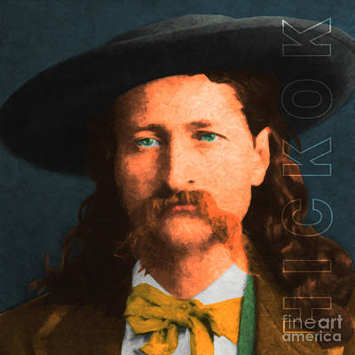 Wild Bill Hickok 20130518 Square With Text Print by Wingsdomain Art and Photography