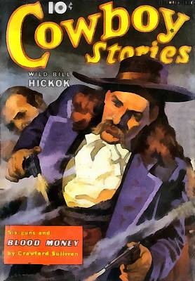 Wild Bill Hickok Cowboy Stories Blood Money Print by Dime Novel Collection
