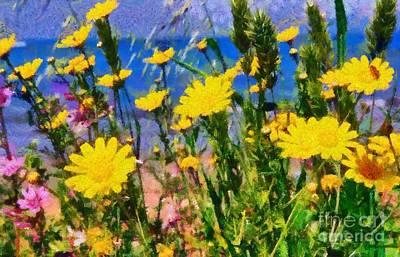Springtime Painting - Wild Daisies by George Atsametakis