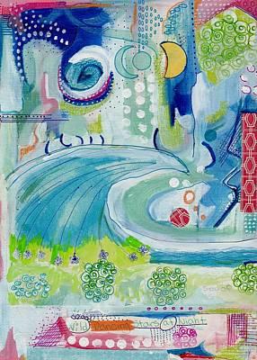 Folk Art Mixed Media - Wild Dancing Stars At Night by Rosalina Bojadschijew