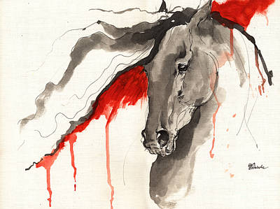 Wild Dark Horse Ink And Acrylic Painting 16 07 2013 Original by Angel  Tarantella