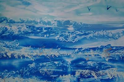 Encaustic Painting - Wild Encaustic Seascape by Pat O'Neill