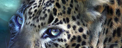 Leopard Mixed Media - Wild Eyes - Leopard Moon by Carol Cavalaris