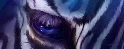 Zebra Mixed Media - Wild Eyes - Zebra Blue by Carol Cavalaris