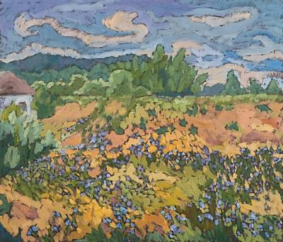 Field. Cloud Painting - Wild Flowers On The Dyke Bank  by Marta Martonfi Benke