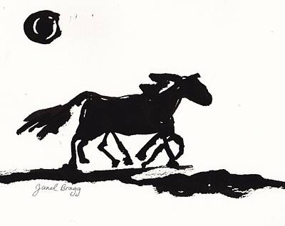 Wild Horse In Ink Print by Janel Bragg