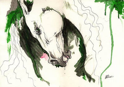 Wild Horse Ink And Acrylic Painting 16 07 2013 Original by Angel  Tarantella