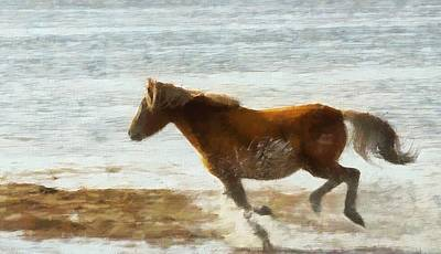 American West Mixed Media - Wild Horse Running Through Water by Dan Sproul