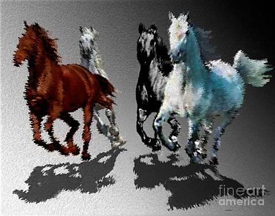 Horse Drawing Digital Art - Wild Horses At Gallop Art by Mario Perez