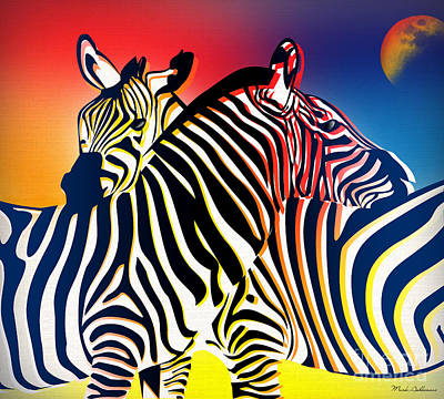 Zebra Digital Art - Wild Life 2 by Mark Ashkenazi