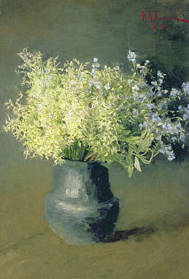 In Bloom Painting - Wild Lilacs And Forget Me Nots by Isaak Ilyich Levitan
