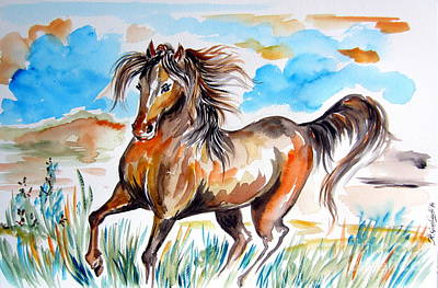 Wild Mustang Water Color Print by Roberto Gagliardi