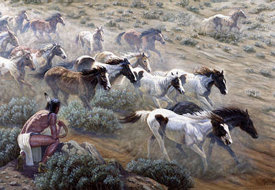 Desert Mixed Media - Wild Mustangs by Gregory Perillo