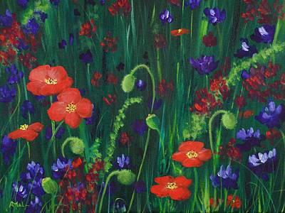 Poppies Drawing - Wild Poppies by Anastasiya Malakhova